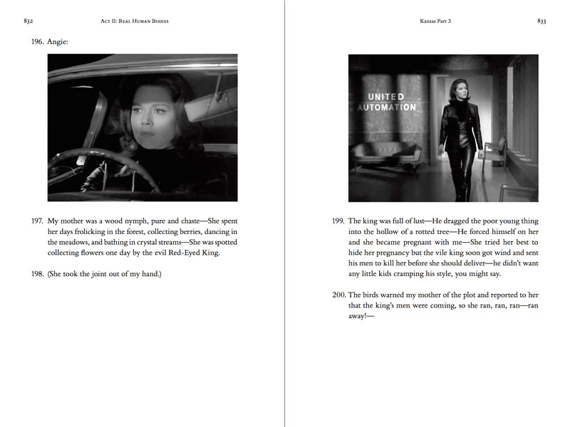 Thumbnail view of two-page spread of the hardcover, printed version of the novel theMystery.doc by Matthew McIntosh. Verso: Black and white still from a historic TV show. a female agent behind the wheel of a car. Recto: Black and white still from a historic TV show. The agent walks into a robot factory.