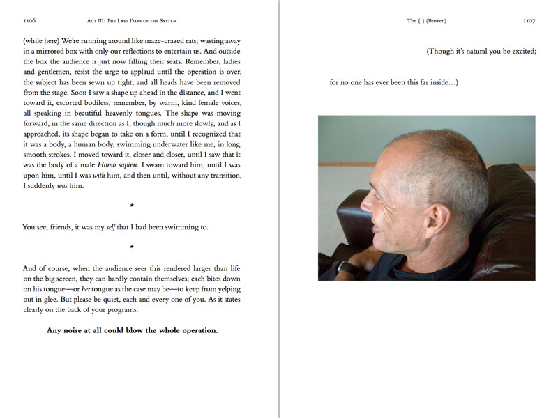 Two-page spread of the hardcover, printed version of the novel theMystery.doc by Matthew McIntosh. Verso: Paragraphs of text. Recto: A snapshot of a man's head, staples visible above the left ear.