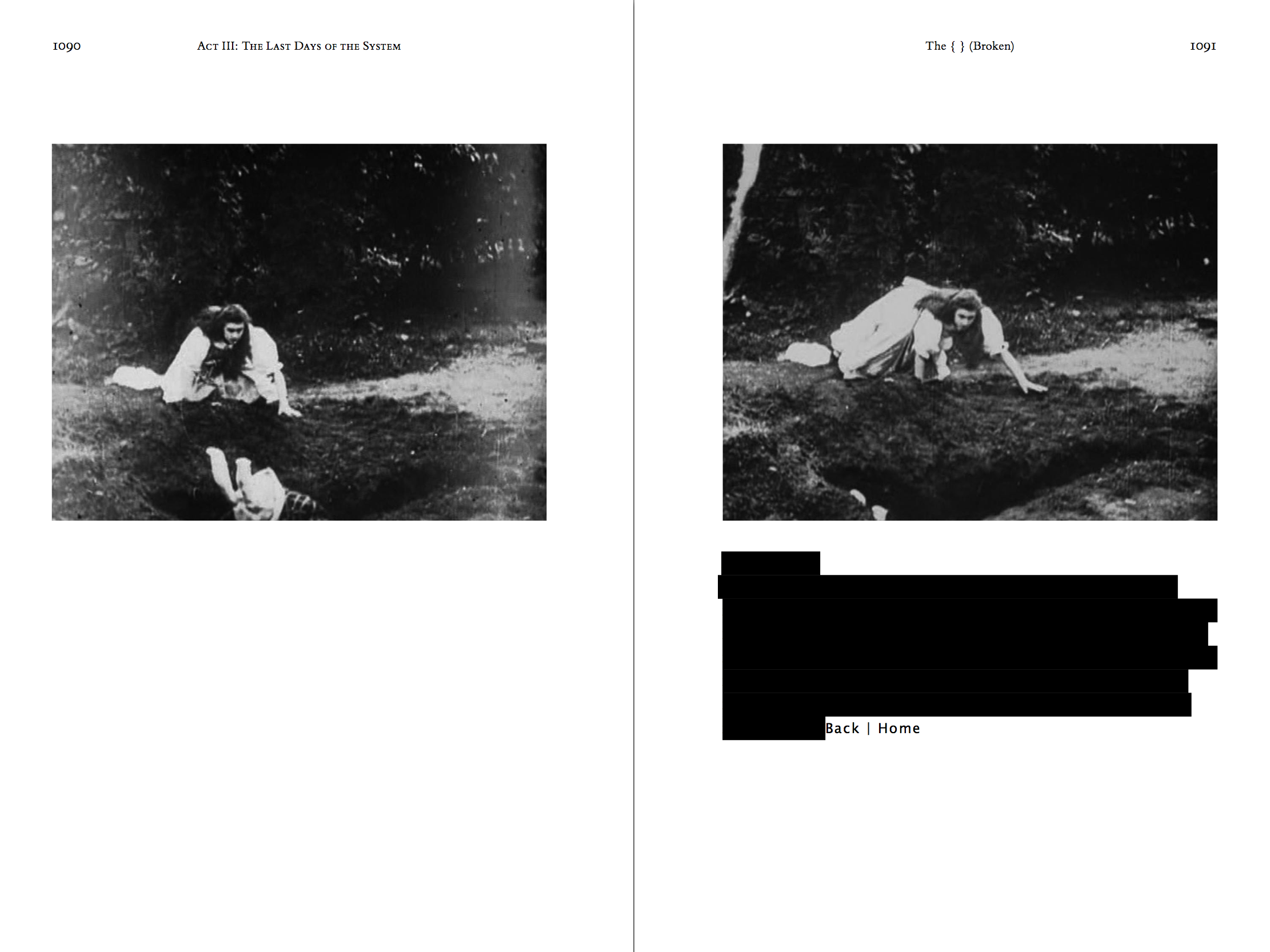 Two-page spread of the hardcover, printed version of the novel theMystery.doc by Matthew McIntosh. Verso, Recto: Black-and-white stills from the film Alice in Wonderland. Alice looks down the hole.