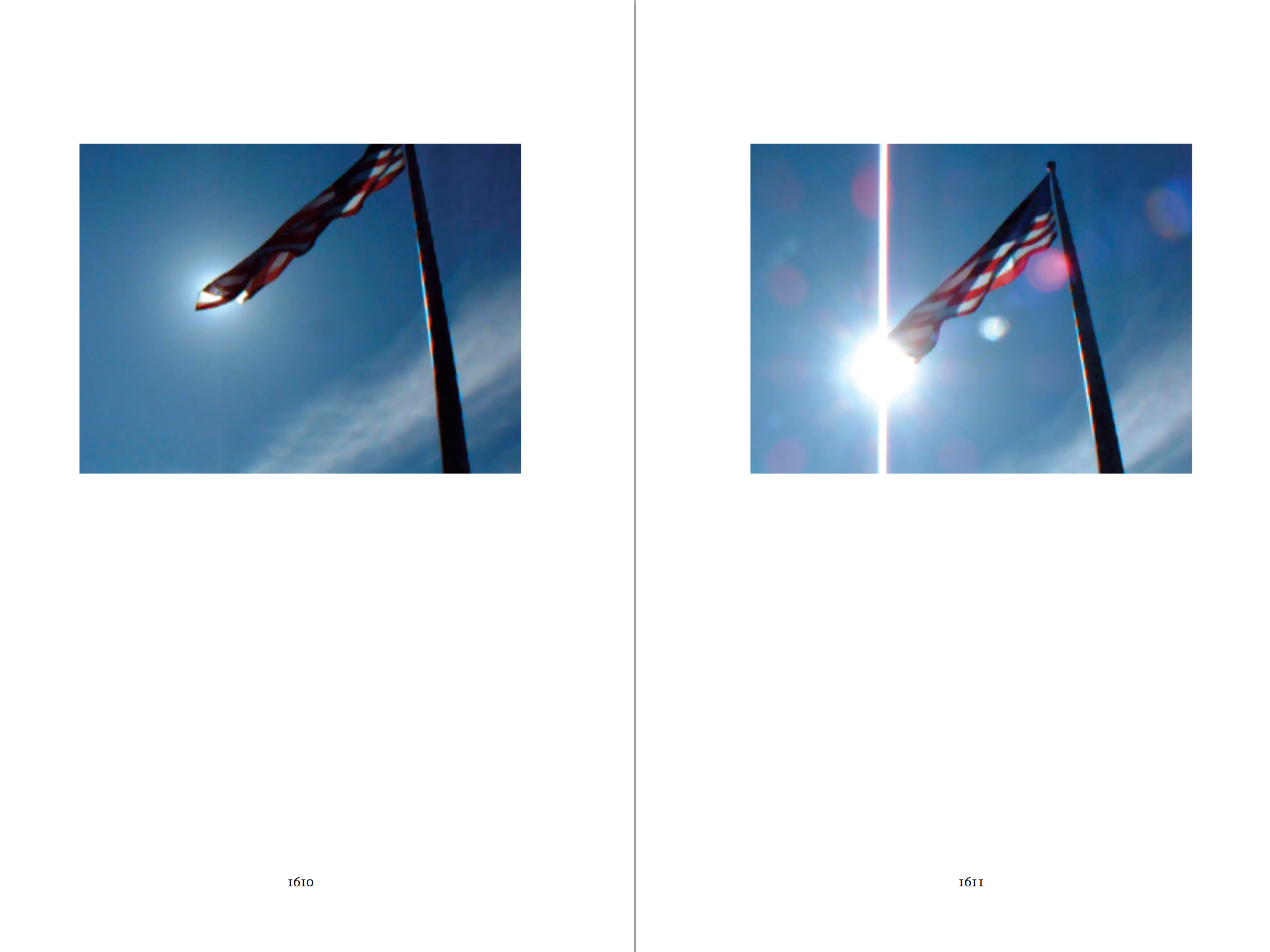Two-page spread of the hardcover, printed version of the novel theMystery.doc by Matthew McIntosh. Verso, Recto: Images of an American flag on a flagpole.