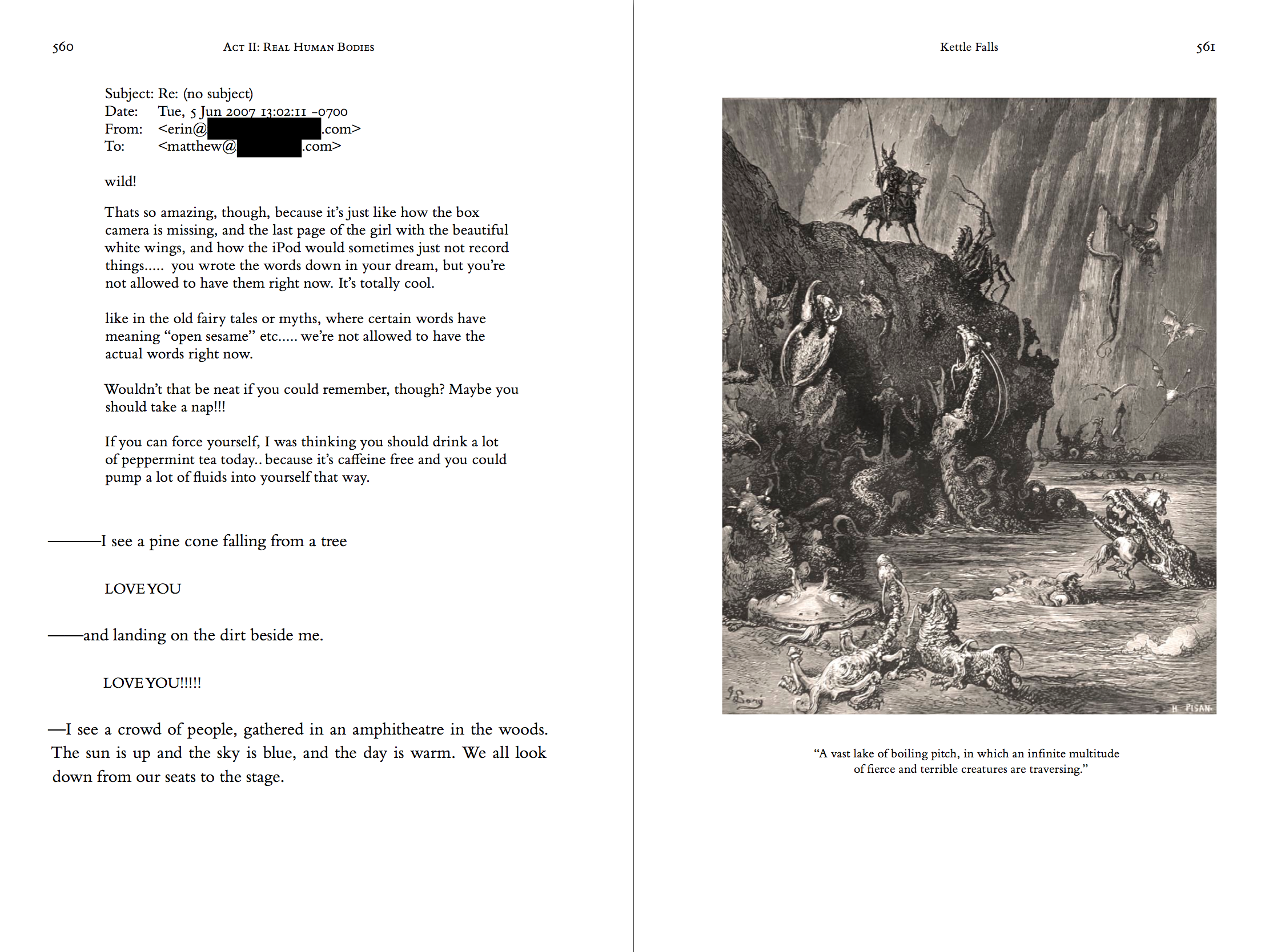 Two-page spread of the hardcover, printed version of the novel theMystery.doc by Matthew McIntosh. Verso: Paragraphs of text. Recto: Gustav Dore engraving from Don Quixote. The knight overlooks a vast lake of boiling pitch.