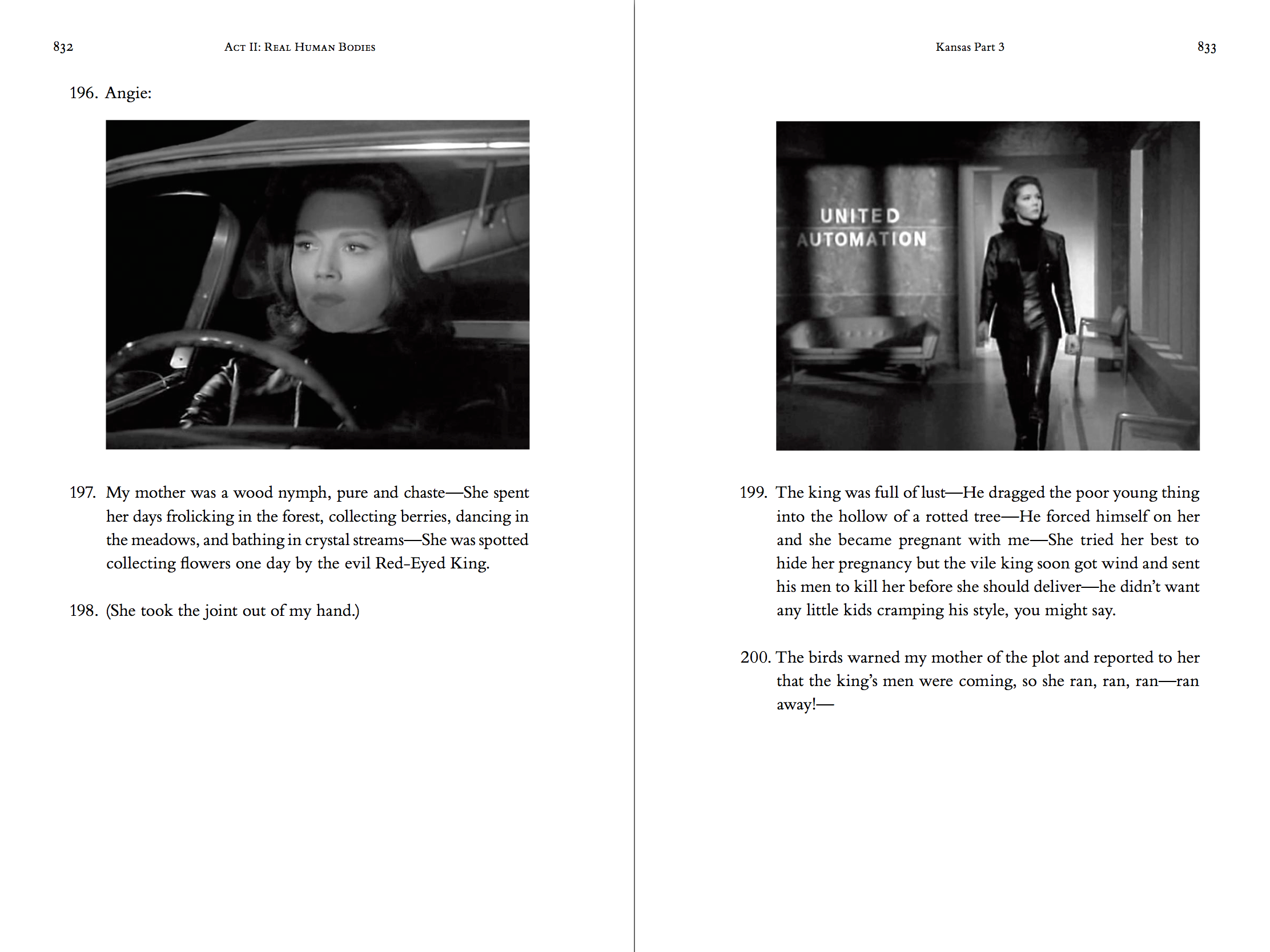 Two-page spread of the hardcover, printed version of the novel theMystery.doc by Matthew McIntosh. Verso: Black and white still from a historic TV show. a female agent behind the wheel of a car. Recto: Black and white still from a historic TV show. The agent walks into a robot factory.